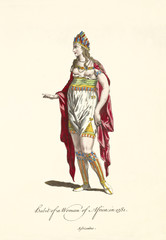 Old illustration of African woman in traditional dresses in 1581. Red cloak over a partial naked body. Gold Jewels on chest and neck. By J.M. Vien, publ. T. Jefferys, London, 1757-1772