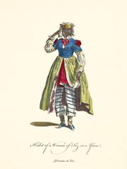 Old illustration of Fez woman in traditional dresses. She wears striped trousers under a long skirt. By J.M. Vien, publ. T. Jefferys, London, 1757-1772