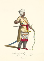 Old illustration of Ethiopian man in traditional dresses in 1581. He keeps ancient weapons like a long bow and a long scimitar. By J.M. Vien, publ. T. Jefferys, London, 1757-1772