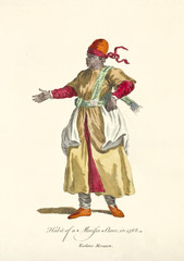 Old illustration of Moorish slave in traditional dresses in 1568. Elements like long tunic and rag shoes. By J.M. Vien, publ. T. Jefferys, London, 1757-1772