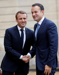 French President Emmanuel Macron welcomes Ireland's Prime Minister Taoiseach Leo Varadkar at the Elysee Palace in Paris