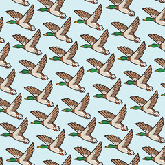 background pattern with mallard duck flying