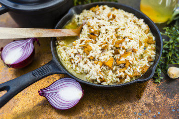 Risotto with chanterelle mushrooms and herbs. Italian food.