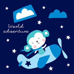 cute monkey in airplane vector illustration