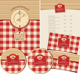 Vector set of design elements for restaurant with business lunch. Menu, business cards and coasters for drinks on the background of a checkered tablecloth and wooden planks with clock and cutlery