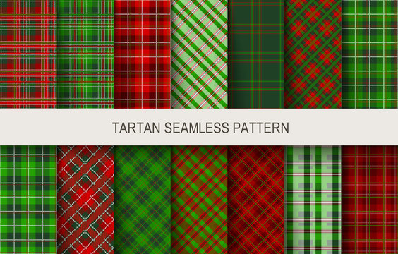 Christmas tartan seamless  patterns in grin and red colors