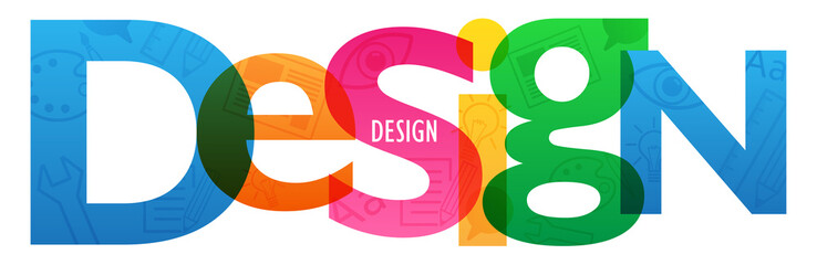 """""""DESIGN"""" letters banner with symbols texture"""