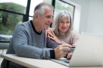 Senior couple online shopping