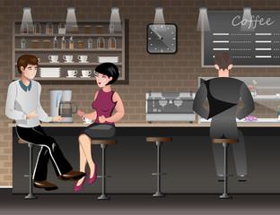 People sitting in bar or pub.