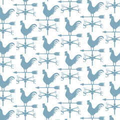 background pattern with rooster weather vane (weathercock silhouette)