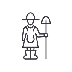 female farmer with shovel line icon, sign, symbol, vector on isolated background