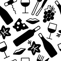 Seamless pattern with wine and food icons.