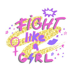 Fight like a girl. Hand drawn lettering with lipstick kiss, female gender sign mirror of Venus and stars on golden glitter paint background. Vector illustration