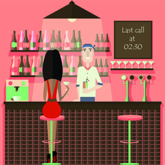 Bar, pub, cafe, night club flat vector illustration. Woman and bartender holding cocktails and sitting on the bar stool, counter desk .