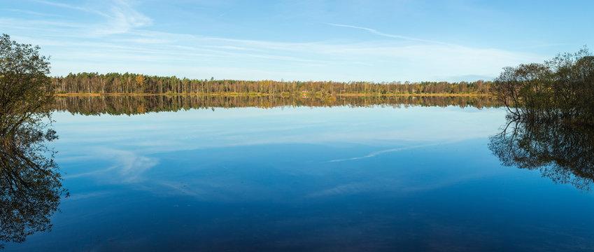 Panorama över liten insjö med spegelblankt vatten