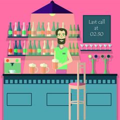 Bar, beer pub, cafe, night club flat vector illustration. Bartender holding beer sitting on the bar stool, counter desk .