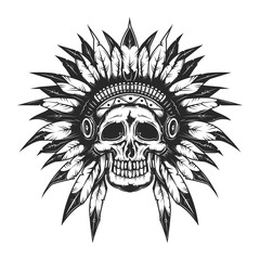 Dead chief skull for creating your own badges, logos, labels, posters etc. Isolated on white