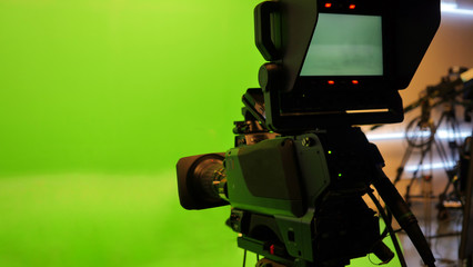 Television studio with camera. Camera on tripod