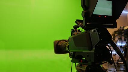 Television studio with camera. Camera on tripod