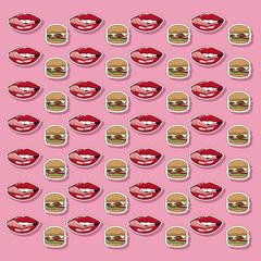 Pop art hamburger wallpaper icon vector illustration graphic design