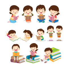 Childrens reading book various actions