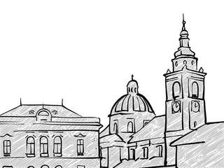 Ljubljana, Slovenia famous Travel Sketch