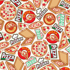 background pattern with  pizza design (label, card box, slice)