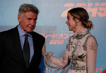 """Cast members Harrison Ford and Ana de Armas attend the Japan premiere of their film """"Blade Runner 2049"""" in Tokyo"""