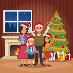 Family christmas cartoon icon vector illustration graphic design