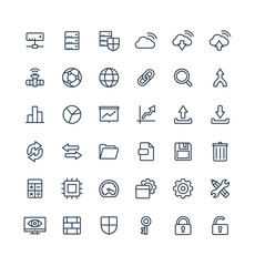 Vector thin line icons set and graphic design elements. Illustration with big data and analytics technology outline symbols. Bigdata, database, seo, server, information security linear pictogram