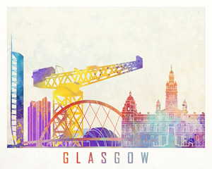 Wall Mural - Glasgow landmarks watercolor poster