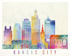 Wall Mural - Kansas City landmarks watercolor poster