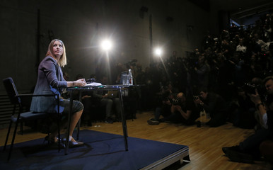 Russian TV personality Sobchak attends a news conference in Moscow