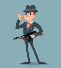 Retro Gangster with Submachine Gun Thug Criminal Character Icon Retro Cartoon Design Vector Illustration