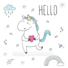 Cute unicorn print for kids. Hello card