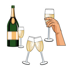 Champagne toast pop art icon vector illustration graphic design