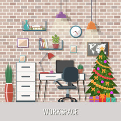 Christmas workspace vector illustration. Creative office interior.