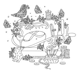 Sewing machine covered with flowers and bird on it. Beautiful coloring page. Vector illustration.