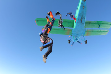 Acrylic Prints Sky sports Skydivers are jumping out of a biplane.