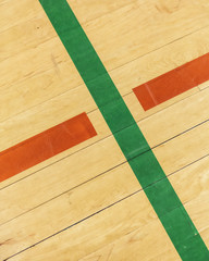 Lines on indoor basketball court