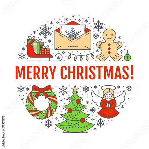 merry christmas new year banner illustration vector line icon of winter holidays christmas tree