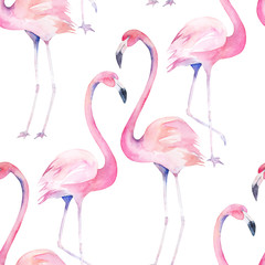 Watercolor seamless pattern with exotic flamingo. Summer decoration print for wrapping, wallpaper, fabric. Hand drawn illustration