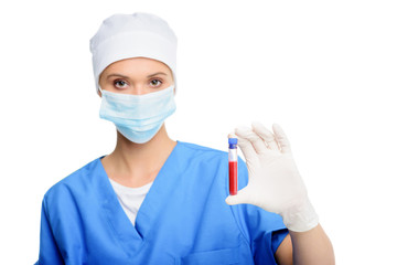 surgeon with blood test