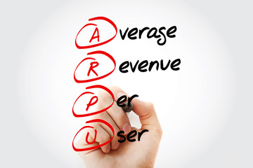 Hand writing ARPU - Average Revenue Per User with marker, acronym concept background