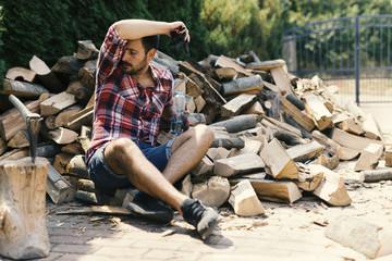 Tired lumberjack
