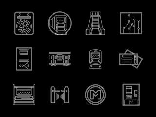 Urban subway flat line vector icons set