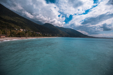 beautiful sea shore on the background of mountains