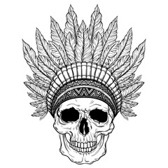 Hand Drawn Native American Indian Headdress With Human Skull. Vector Illustration Of Indian Tribal Chief Feather Hat And Skull