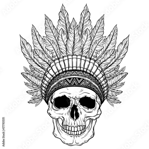 7c50a62d4 Hand Drawn Native American Indian Headdress With Human Skull. Vector  Illustration Of Indian Tribal Chief Feather Hat And Skull