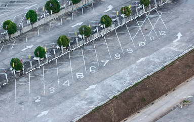 Top view of car parking in the park